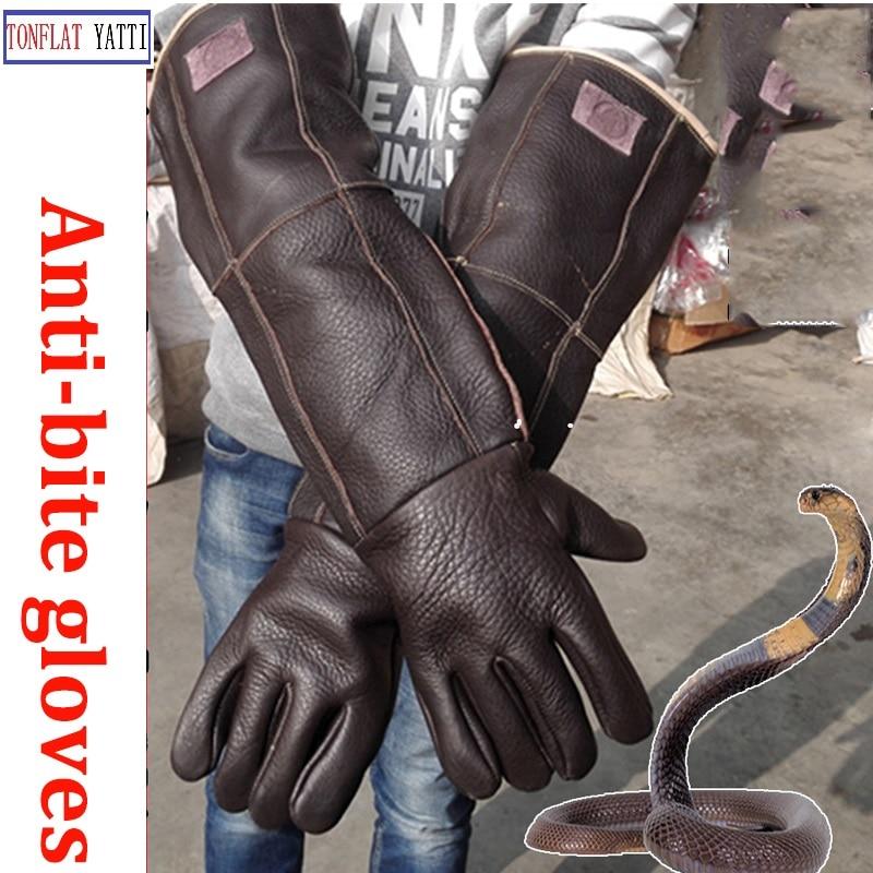 60cm long Anti-bite Leather gloves Tactical Animal Training Dog Cat Snake Bite Anti-scratch Protective Training Feeding Gloves zeacwfy1 pet dog cat protective anti bite beauty cover white