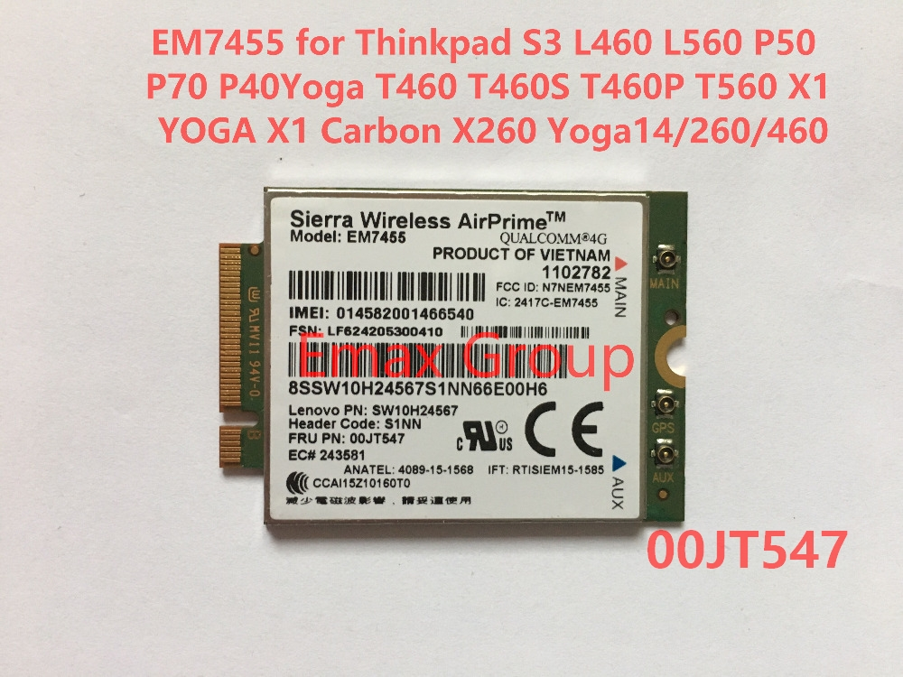 US $85 49 5% OFF|EM7455 FRU 00JT547+Antenna for Thinkpad X1 Carbon 5th  Gen,L460 L560 P70 T460S T460P T560 X1 YOGA ,X1 Carbon 4th Gen, X260-in