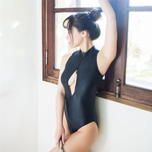 цена на bikini 2019 Pure color Round collar Front drive zipper Japanese Student badpak swimwear women one piece swimsuit women monokini
