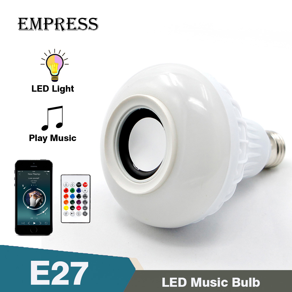 E27 Smart RGB Wireless Bluetooth Light Bulb Speaker Lamp with 24 Keys Remote Control Music Playing Dimmable LED Bulb Light Lamp icoco e27 smart bluetooth led light multicolor dimmer bulb lamp for ios for android system remote control anti interference hot