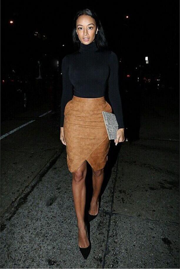 Aliexpress.com : Buy Women Brown Faux Suede Skirt Back Split Faux ...