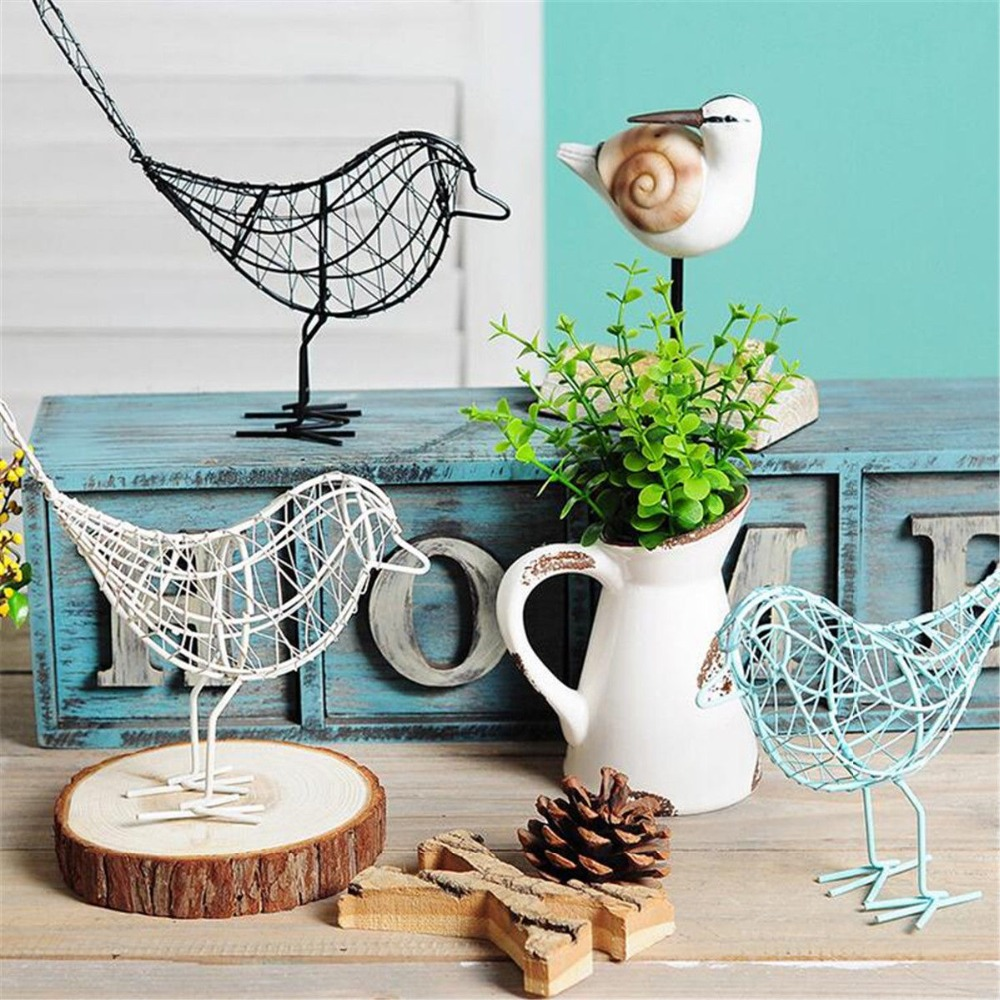 Artificial Metal Wire Iron Bird Model Miniature Figurines Home Decoration Craft Maison Xmas Wedding Birthday Gift For Friends