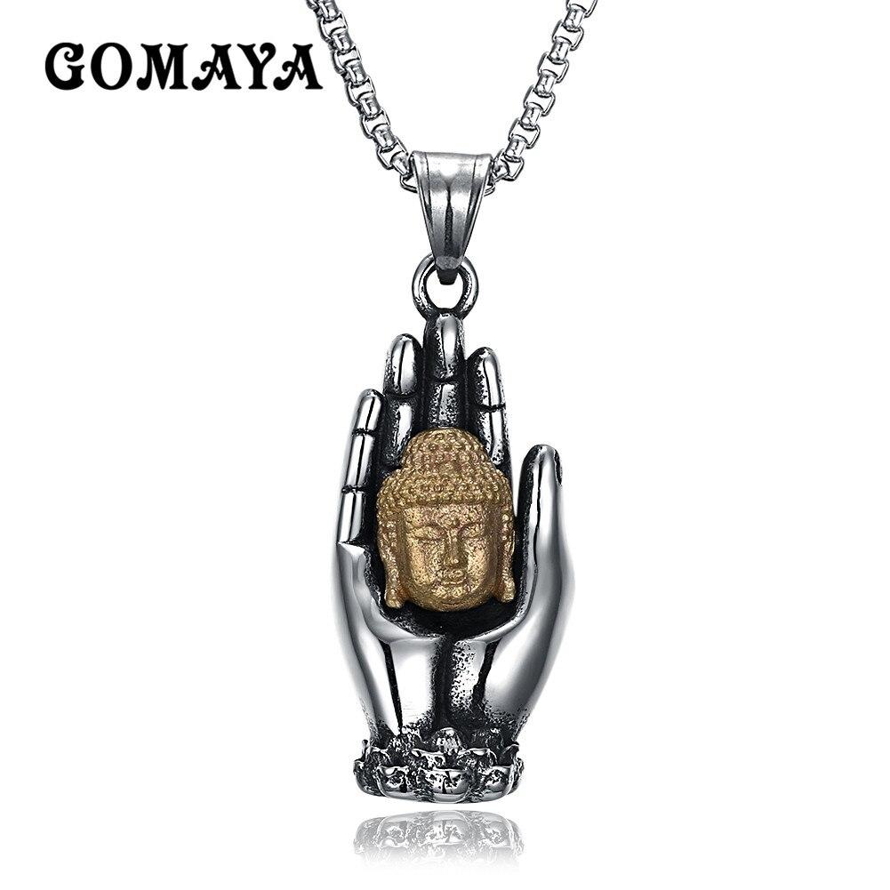 GOMAYA The Palm and Gold Buddha Vinayaka Vintage Lord Ganesha Indian Buddhism Jewelry for Women Men Necklaces
