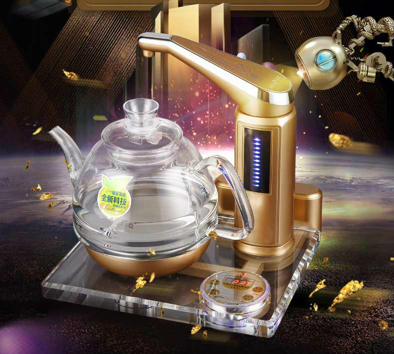 NEW High quality All-intelligent automatic water electric kettle tea furnace crystal glass art Safety Auto-Off Function free shipping automatic water supply electric kettle tea set pumping furnace