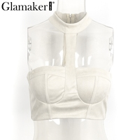 Glamaker Suede Halter Off Shoulder Women Crop Top Sexy Club Short Tube Top Zipper Bustier Fitness