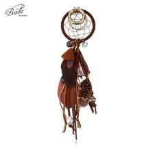 Badu Round Vintage Key Chain Women Bag Decoration Boho Style Feather Keychains Indian Jewelry Original Design Handmade