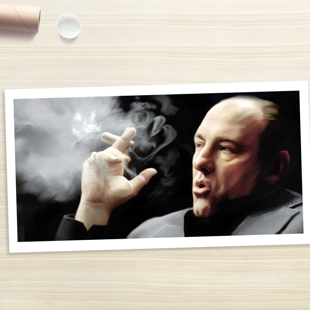 Tony Soprano cigarro James Gandolfini trabajo de arte # pintura al ...