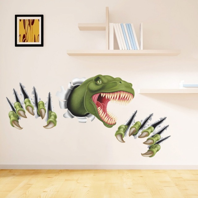 New 3D Stereo Dinosaur Break Through Wall Art Mural Poster Through Wall  Dinosaur Wall Stickers Part 64