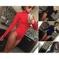 2016 Лето Женщины С Длинным Рукавом Боди Топ Сексуальный Черный Красный Синий Серый Bodycon Тощий One Piece Комбинезон Боди Женщины Комбинезон
