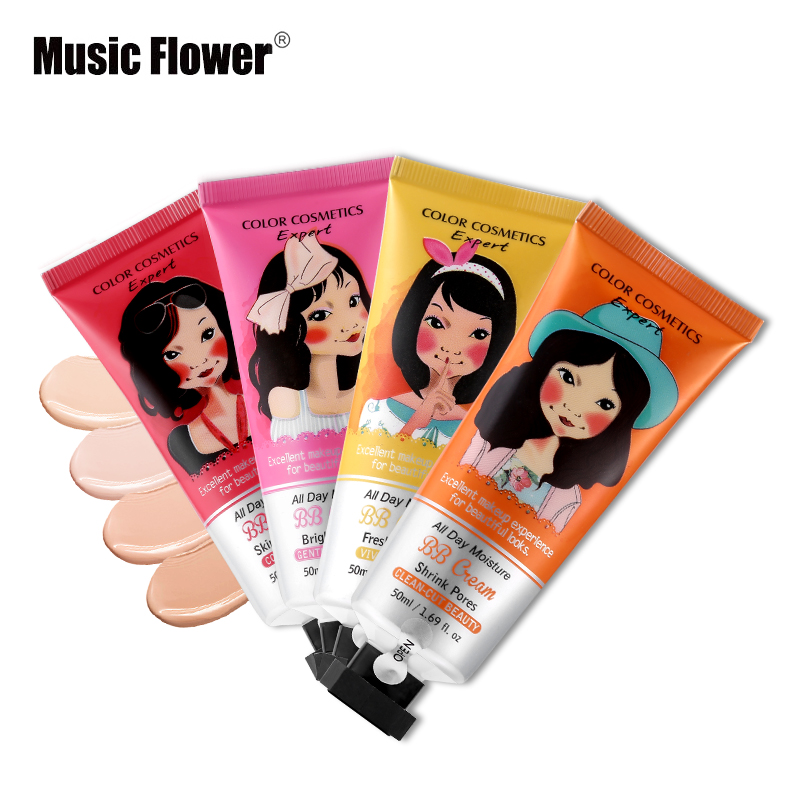 Music Flower Brand BB&CC Cream Korean Makeup Face Base Liquid Foundation Make Up Concealer Moisturizing Whitening Cosmetics 50ml image