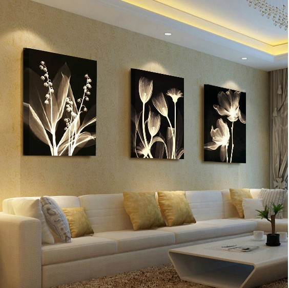 Living room decorative painting Modern sofa background flower design ...