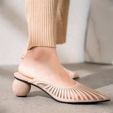 2019 spring and summer womens slippers comfortable breathable pointed toe round heel shoes women