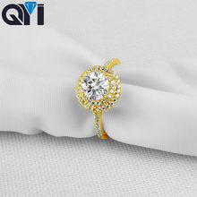 136c74a24be1 QYI 1 ct corte redondo 10 K oro amarillo sólido anillos anillo de compromiso  joyería de las mujeres de Sona diamante simulado pa.