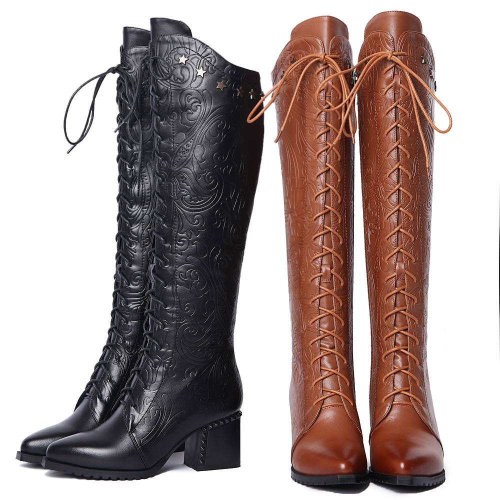 f24429bc436 New fashion large size high quality lace up knee high boots print brand  pointed toe women boots winter shoes warm causal boots L-in Knee-High Boots  from ...
