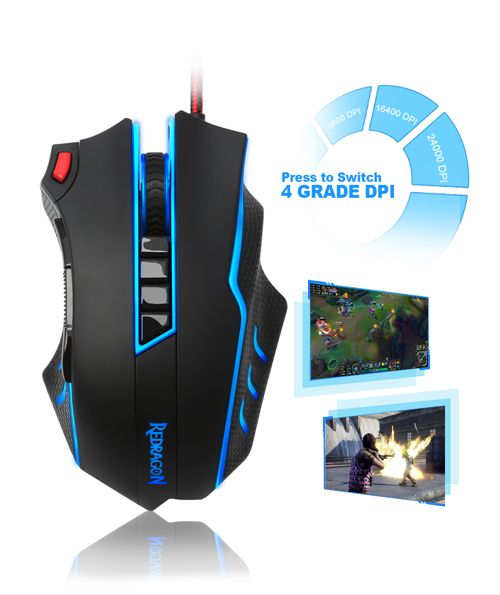 Redragon USB wired RGB Gaming Mouse 24000DPI 10 buttons laser programmable game mice LED backlight ergonomic for laptop computer 13