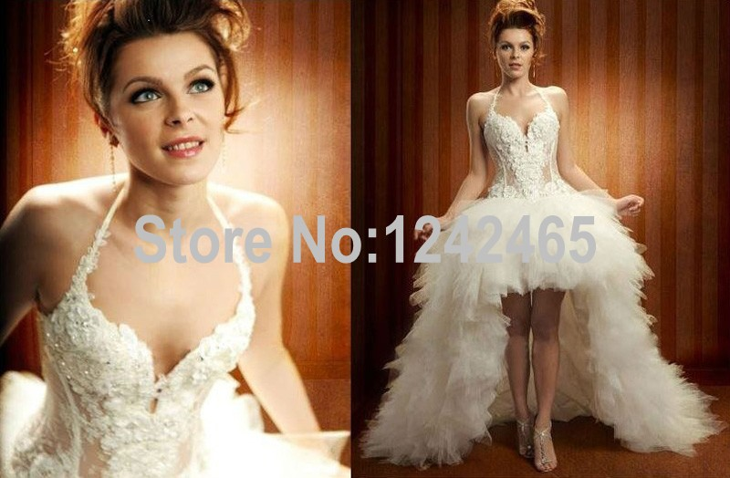 Low Back Lace Wedding Gown: Sexy High Low Wedding Dresses Sweetheart Lace Up Back Soft