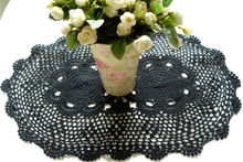 Gothic Table Runner Black Crochet Lace Tablecloth Placemats oval 16*24 inches (40*60cm)