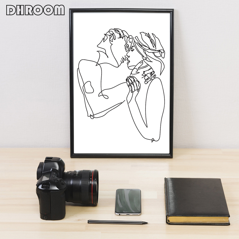 HTB1cBk0bffsK1RjSszbq6AqBXXaP Minimalist Kissing Wall Art Couple Kiss Poster Prints One Line Drawing Canvas Painting Love Definition Wall Poster Bedroom Art