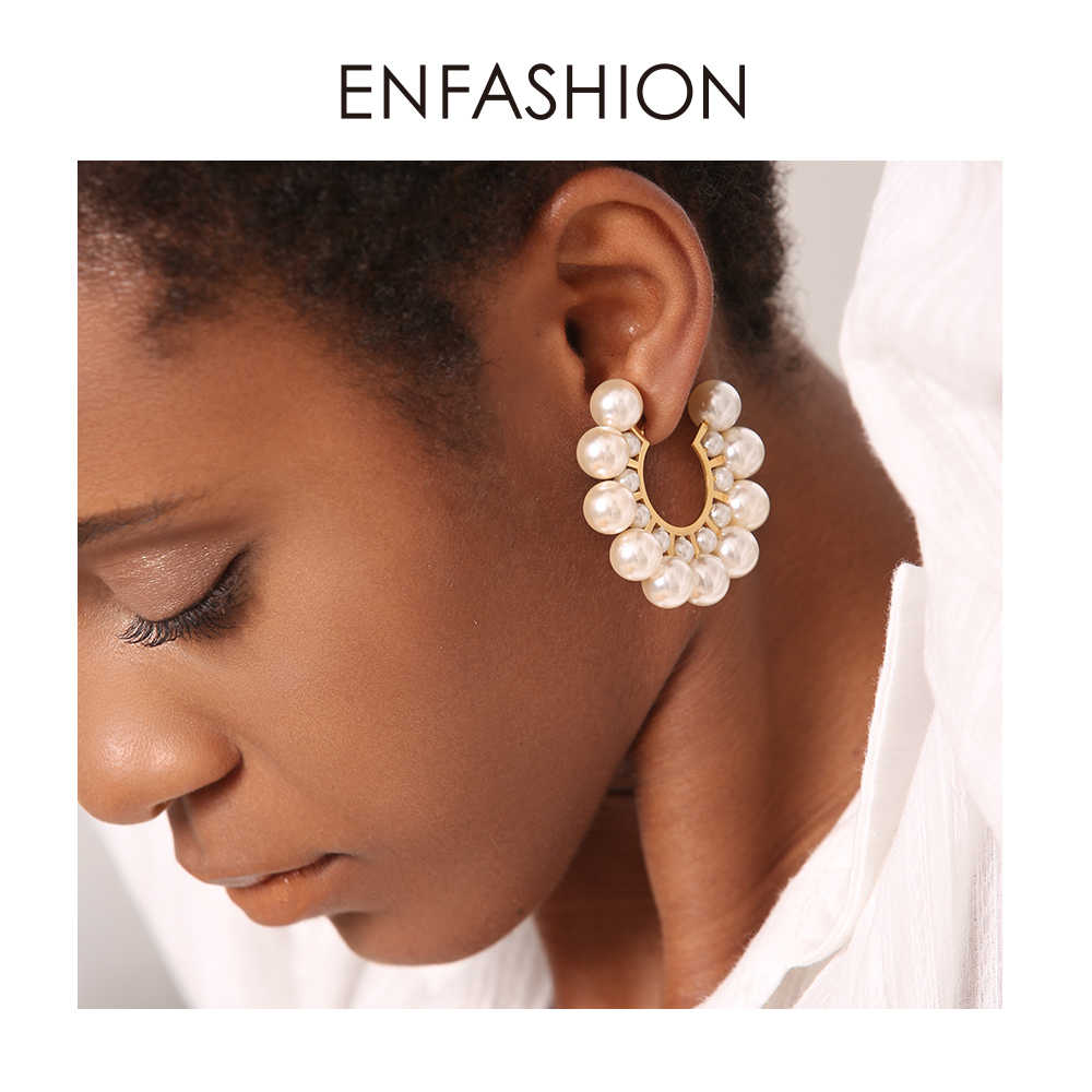 Enfashion Pearl Hoop Earrings For Women Gold Color Round Earring Big Circle Hoops Earings Fashion Jewelry Pendientes Aros EB1094