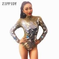 Sparkly altın Rhinestones aynalar parlayan Bodysuit kadın doğum günü kutlamak kıyafet DJ şarkıcı gösterisi dans streç kıyafet|Zıbınlar|   -