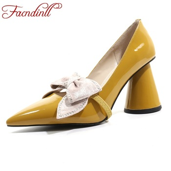FACNDINLL 2019 new fashion women pumps sexy high heels pointed toe Butterfly-knot shoes woman dress party wedding shoes pumps