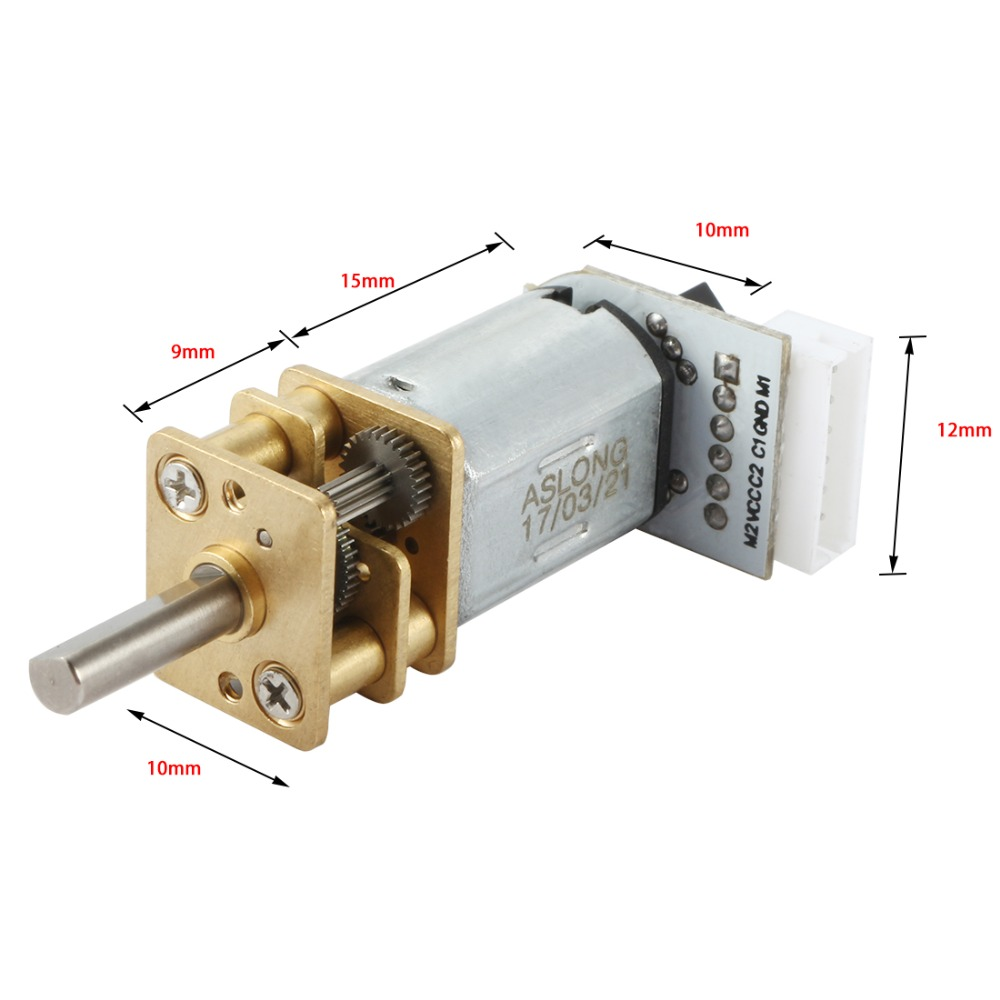 UXCELL JG12-<font><b>N20</b></font> DC12V 1000RPM Mini Speed Reduction Motor Electric Micro Gear Box 3mm Dia Shaft with Wire for <font><b>Encode</b></font> Electric Toy image