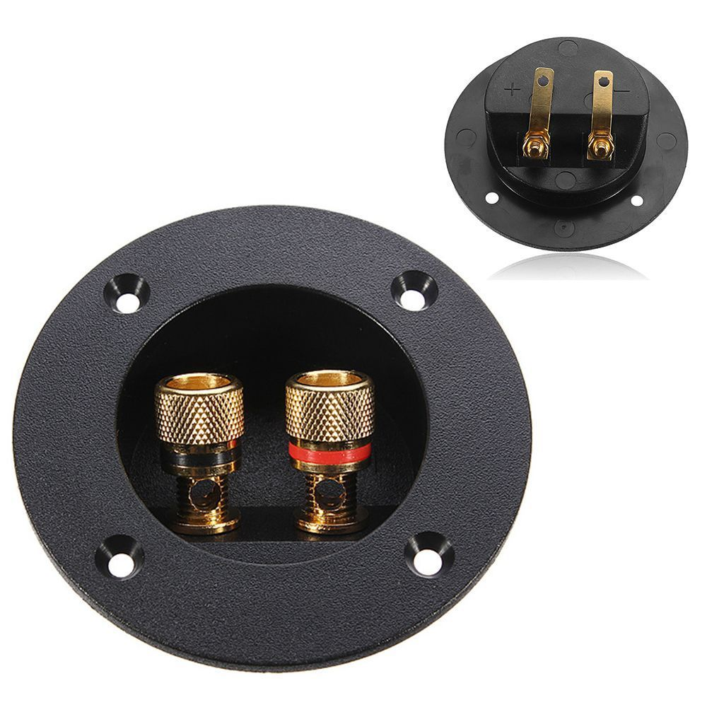 Plug Round Boxes With 2 Banana Jack Subwoofer Speaker Terminal Connectors Glided