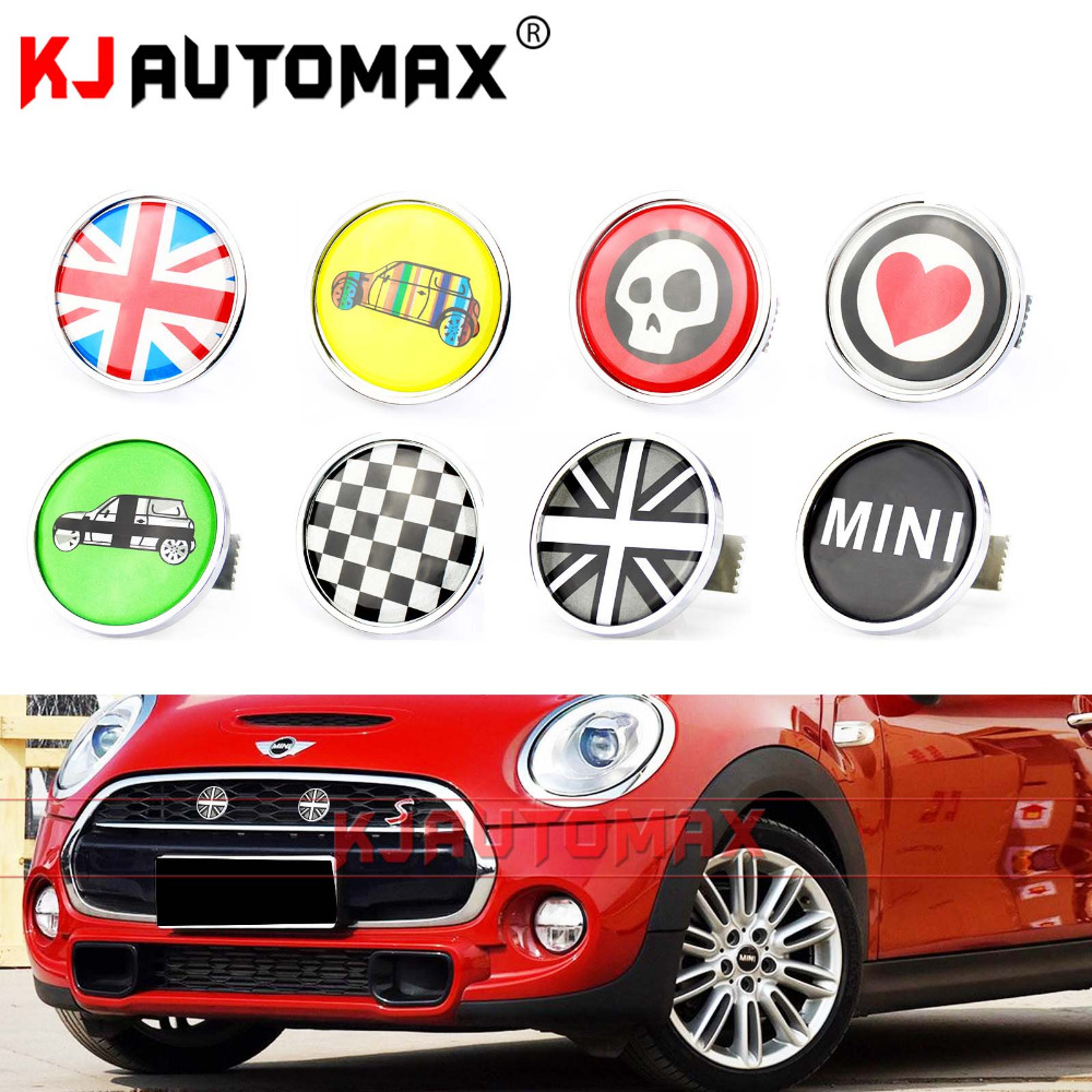 цена на Mini Cooper Metal Front Grille Emblem Badge Set Sticker Accessories Countryman Clubman R55 R56 R57 R58 R59 R60 R61 F55 F56