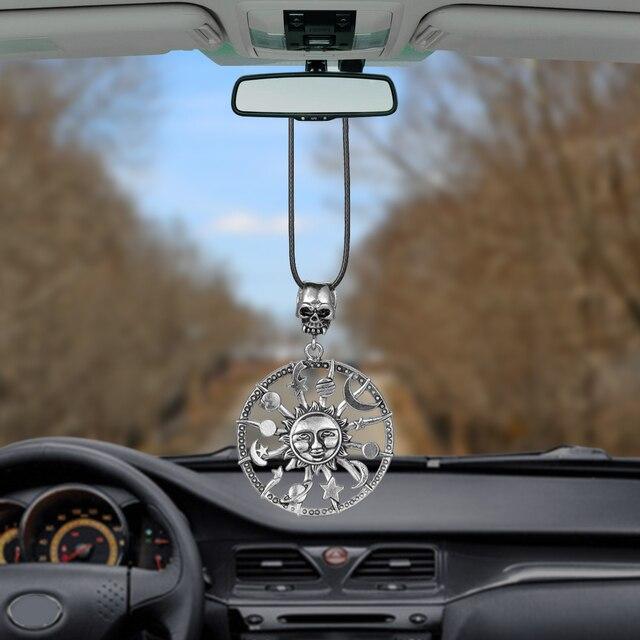Car Pendant Metal Antiqued Sun God Flower Star Moon Decoration