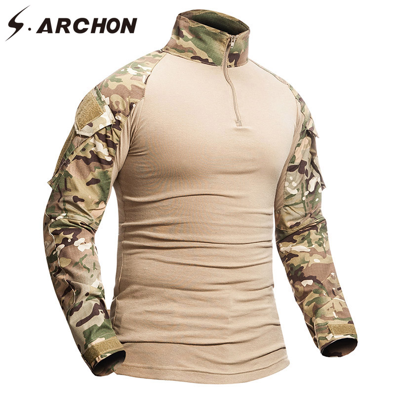 S.ARCHON Military Camouflage Shirt Men 12 Colors Cotton Long Sleeve Army Tactical Shirt Solider Squad Armed Outwear Shirts