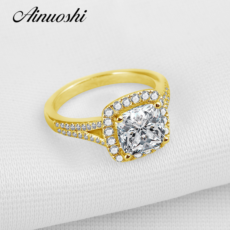 AINUOSHI 10K Solid Yellow Gold Women Wedding Ring 2.25 ct Princess Cut Sona Simulated Diamond Halo Bague Female Wedding Rings