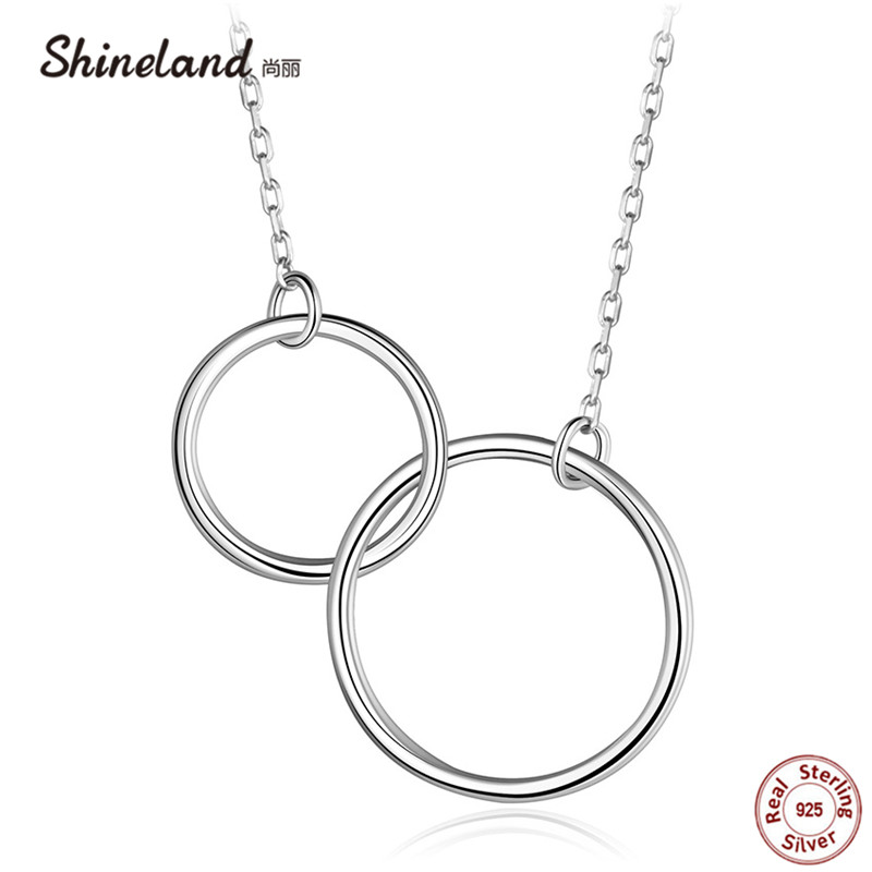 Shineland Casual Double Circle Necklace 925 Sterling Silver Pendant Accessories Mujer Interlocking Collar for Women Friend Gifts ...
