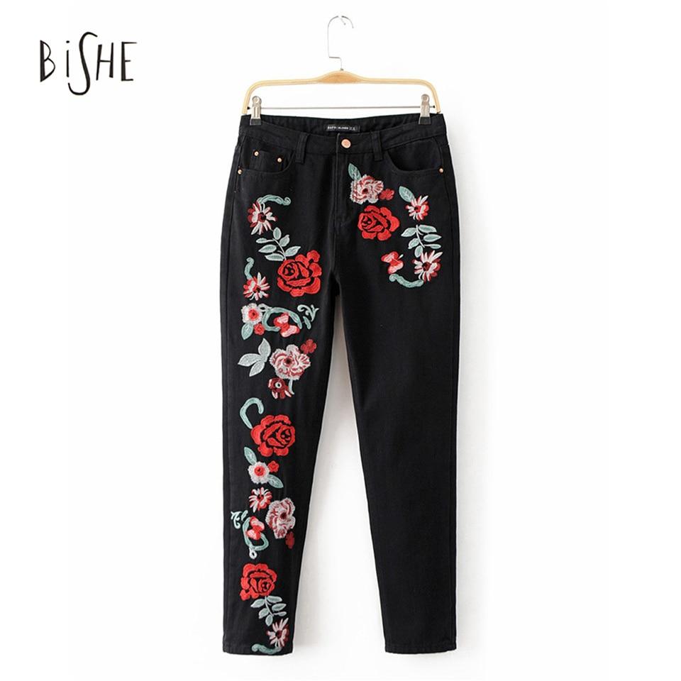 ФОТО Bishe Fashion Women Jeans Denim Fabric Sexy Rose 3D Embroidery High Waist Harem Pants Ladies Straight Denim Pants Jeans Bottoms