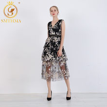SMTHMA New Fashion Summer Self Portrait Dress Women's Vintage Sleeveless Floral Embroidery Sequin Mesh Elegant Vacation Dresse(China)