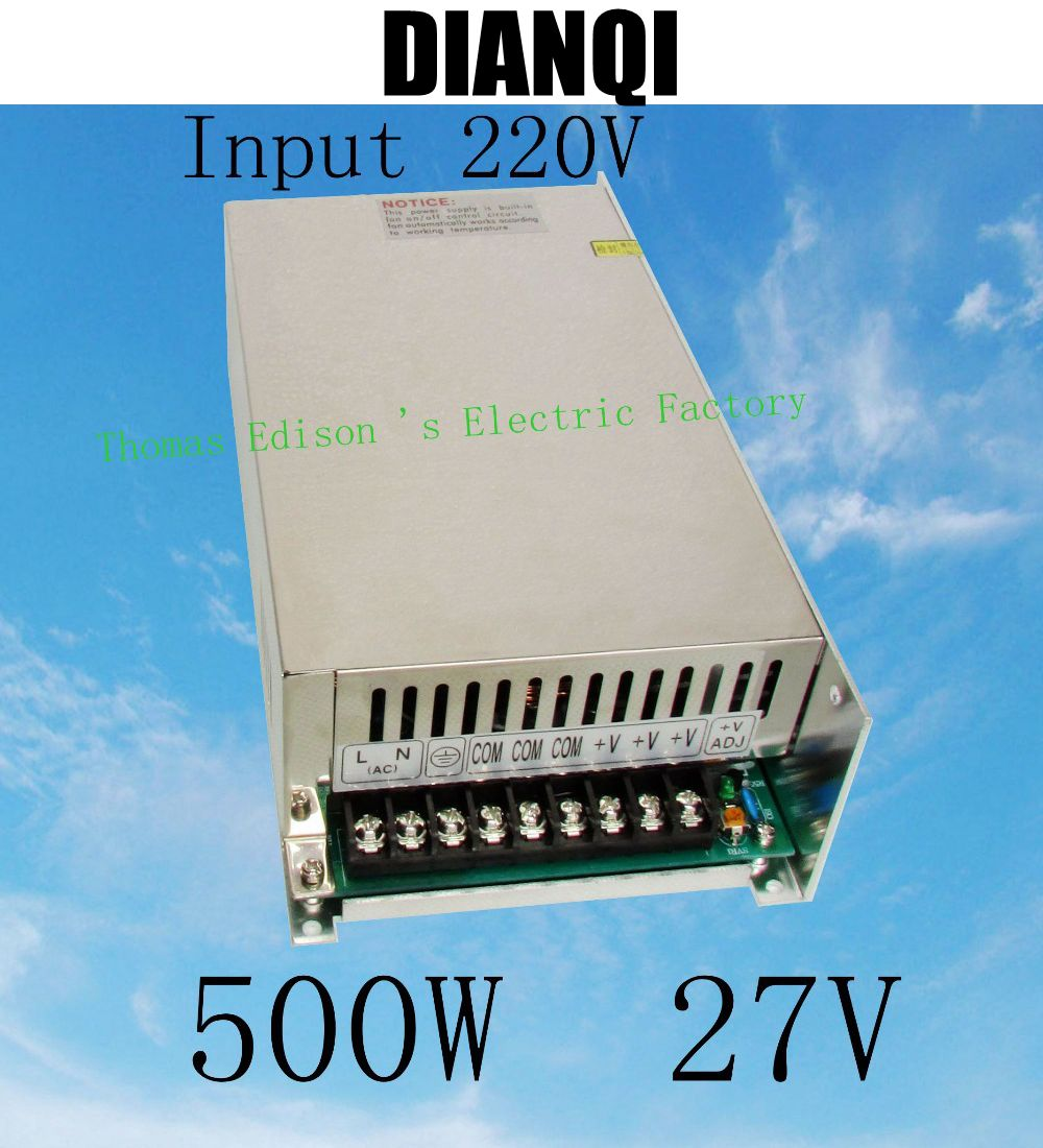 цена на power suply 27v 500w input 220v or 110V ac to dc power supply ac dc converter high quality led driver S-500-27