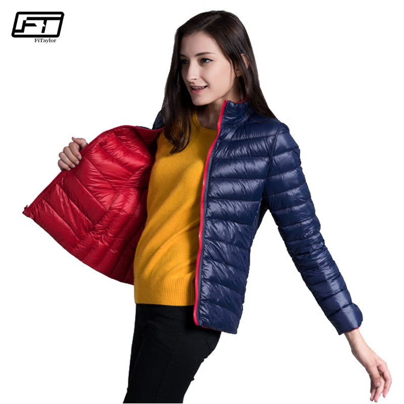 Fitaylor New Winter Women Down Jacket Ultra Light 90 White Duck Down Double Side Coats Short
