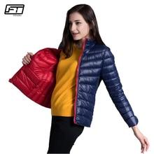 Fitaylor nuevo invierno mujeres abajo chaqueta ultra ligero 90% pato blanco abajo doble cara abrigos diseño corto Delgado caliente parkas