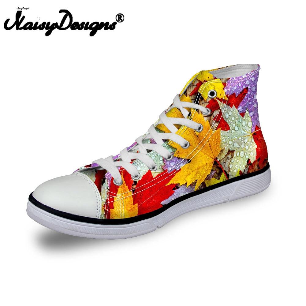Noisydesigns Femmes sneakers Casual jaune feuilles d'érable 3D impression plat vintage Toile Vulcanisé chaussures high top lace up appartements fille