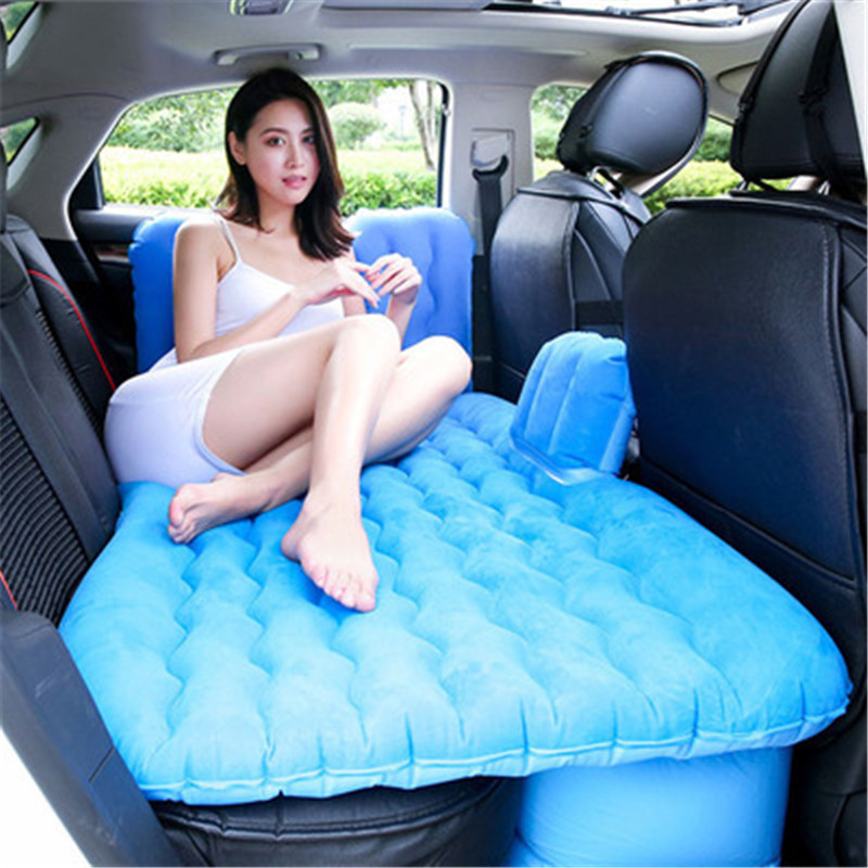 Car Goods Inflatable Mattress Back Seat Flocked Cloth Cover Car Air Mattress Travel Bed Air Bed Good Quality Inflatable Car Bed tpu car air bed inflatable car air mattress travel bed inflatable camping bed folding bed