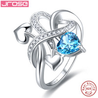 Jrose Created Heart Blue Topaz Solitaire Engagement Ring 925 Sterling Silver Ring Women Fashion Design Jewelry