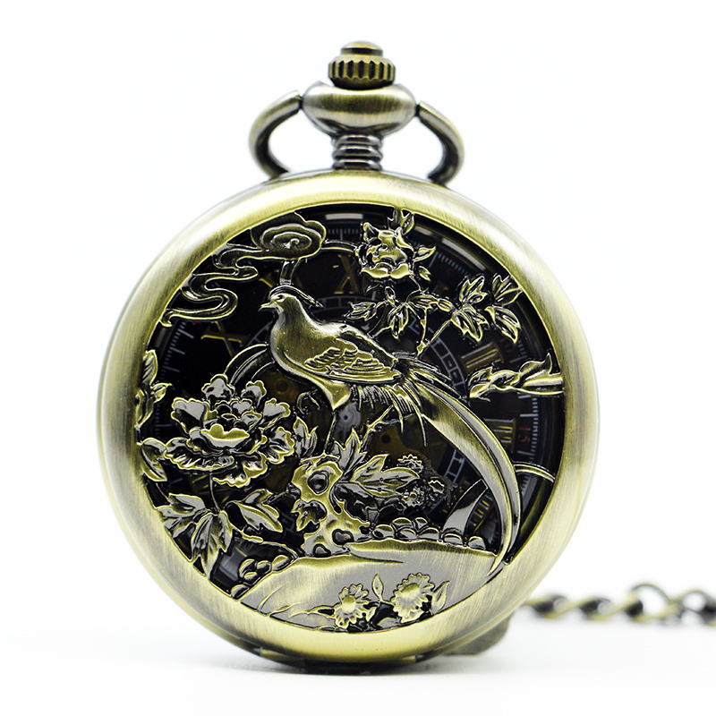 Top Vintage Nursing Watches Birds Mechanical Pocket&Fob Watches Skeleton Unisex Watch With Fob Chain Gifts PJX1282