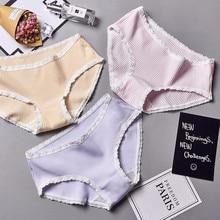 Wasteheart 2018 New Women Fashion Purple Soft Lace Trim Cotton Bow Low Waist Panties Underwear Lingerie Briefs Plus Size