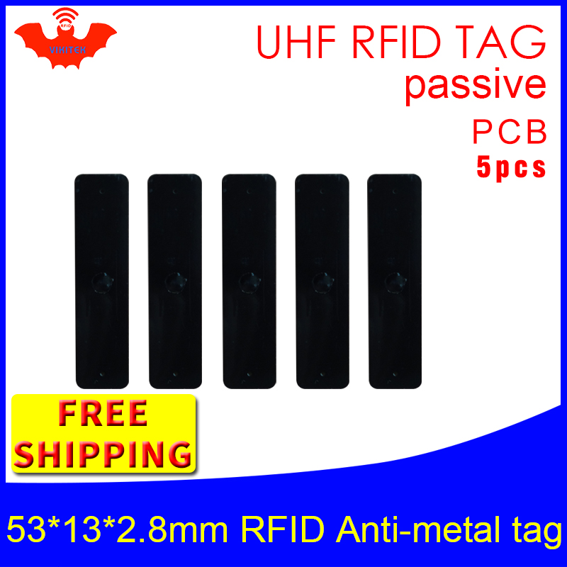 UHF RFID Metal Tag 915mhz 868mhz Alien Higgs3 EPC 5pcs Free Shipping 53*13*2.8mm Small Rectangle PCB Smart Passive RFID Tags