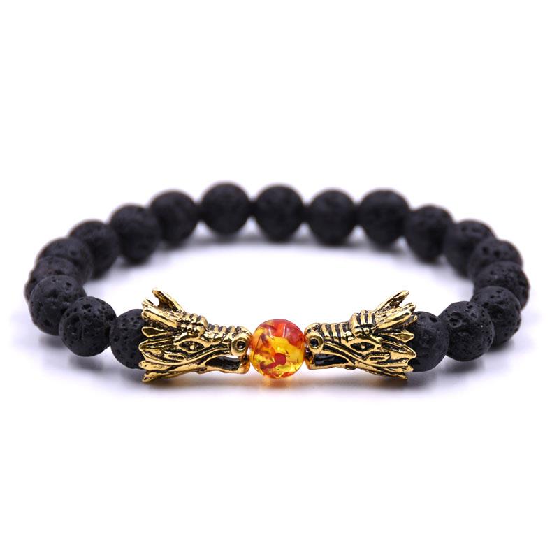 HYHONEY 8MM Natural Stone Beads Bracelet For Men bileklik Men Jewelry Dragon pulseras 3