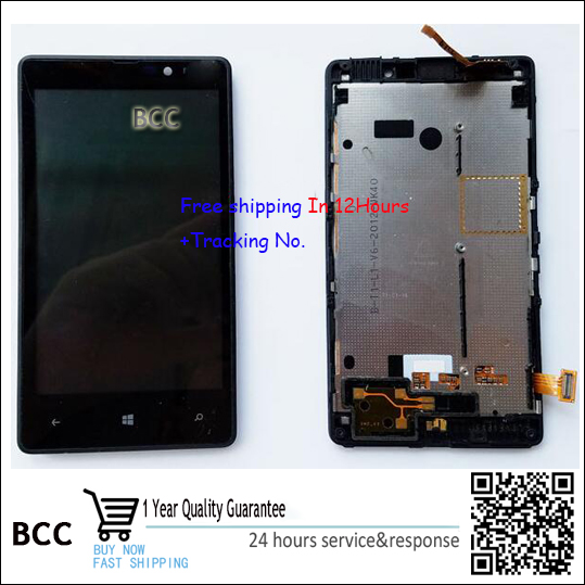 In Stock!!100% Original LCD Display Digitizer Touch Screen Glass with frame For Nokia Lumia 820 Black Test ok+Track