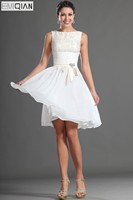 Freeshipping Tank Knee Length Short White Chiffon and Lace Homecoming Dresses