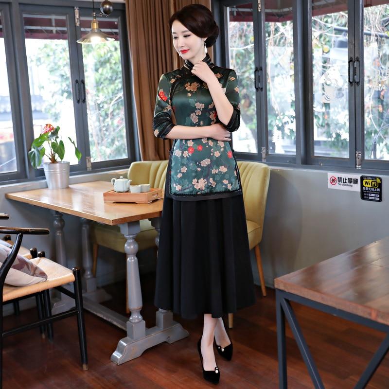Nouveauté Tradition chinoise chemisier femme rayonne chemise hauts imprimé Floral fait main bouton vêtements grande taille M L XL XXL 3XL