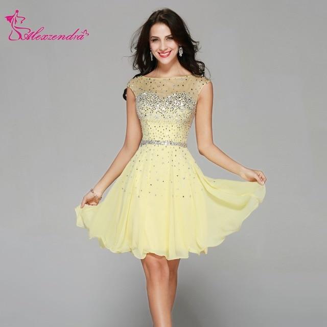 5d0b99b13 Alexzendra Light Yellow Chiffon Beads A Line Mini Prom Dresses 2018 ...