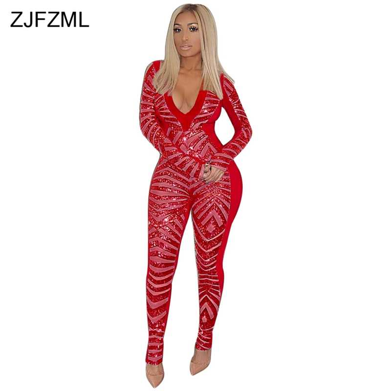 01dcf4d691 Geometric Sequined Sexy Rompers Womens Jumpsuit V Neck Long Sleeve Night  Club Party Overall Fashion Bodycon