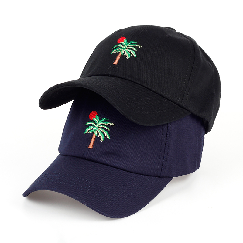 2017 New Adjustable Embroidery Palm Trees Curved Dad Snapback Hats Baseball Cap Coconut Trees Hat Bone Strapback Hip Hop Cap a three dimensional embroidery of flowers trees and fruits chinese embroidery handmade art design book